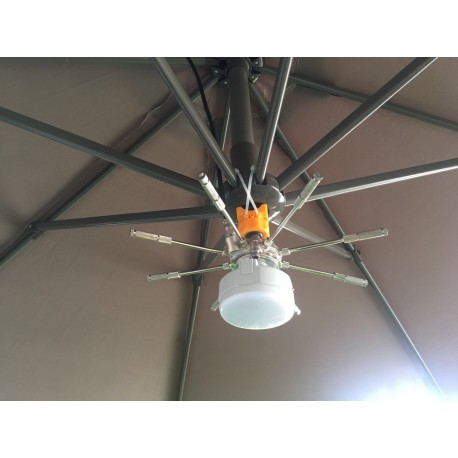 Kit parasol 8 buses avec lampe pour brumisateur haute pression